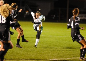 Northridge midfielder Brianne O'Dell unleashes a shot during the second half against Warsaw.