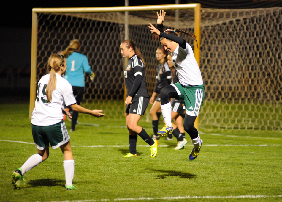 Northridge's Christina Juroff celebrates after scoring a goal during the second half of a 5-0 win over Warsaw in the Goshen Girls Soccer Regional Wednesday night. (Photos by Mike Deak)