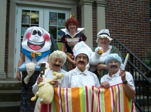 Back Row: Heather Pickens, Humpty Dumpty, Maureen Haab, Queen of Hearts, and Julie Frew, Mother Goose  Front Row: (Three Men in a Tub) Dorothy Gall, The Butcher, Mim Eberly, The Baker, and Margaret Cousins, The Castlestick Maker (Photo provided)