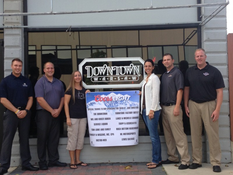 From left are Five Star Distributing employees Eric Rhodes and Allan Henderson; and The Downtown staff Dana Koors and Kristi Boren; and Five Star employees Blake Quinn and Jay Solloway. (Photo provided)