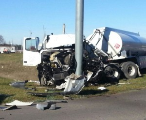 A tanker truck slammed into a pole just in front of Meijer just before 10:30 a.m. this morning. (Photos by Alyssa Richardson)