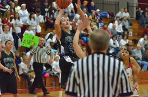 Aubrey Schmeltz goes up in traffic on Friday night.