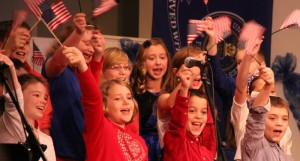 The fifth grade class at Warsaw Christian celebrates veterans. (Photo provided)