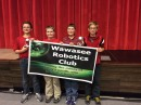 From left are Ryan Zorn, Jack Collins, Braxton Studebaker and Clay Kelsheimer. The four Wawasee Middle School students made up a robotics team placing second in the state competition. This photo was taken during a November competition at Grace College. Not all of the team members were available for photos following the competition Saturday. (Photo provided)