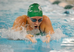 Concord junior Ashley Schrock motors to a big win in the breaststroke. (Photos by Mike Deak)