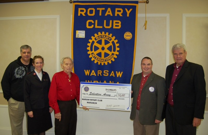 Pictured from left are Ken Locke, Lt. Karen Pommier, N. Bruce Howe, Robyn Palmer, Rotary President  John R. Hall. (Photo provided)