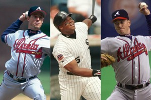 Greg Maddux, Frank Thomas and Tom Glavine (left to right) were all inducted into Major League Baseball's Hall of Fame Wednesday.