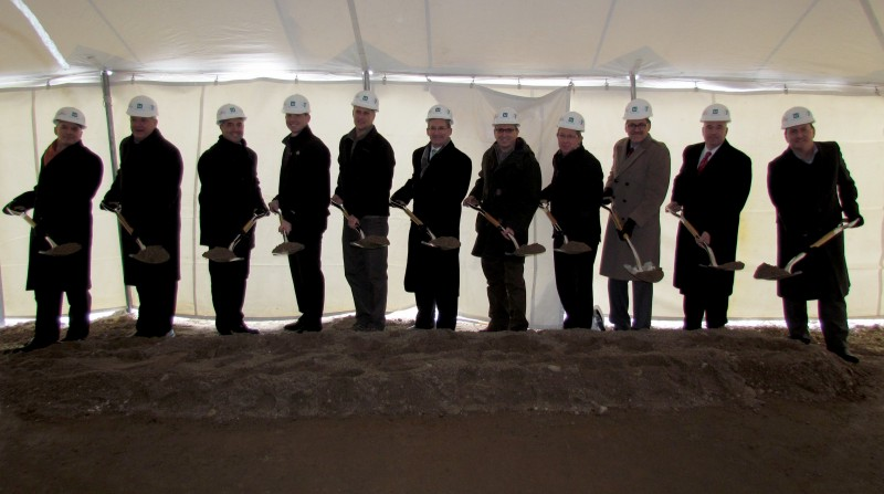 Pictured, from left, are David Findlay, Lake City Bank; Warsaw Mayor Joe Thallemer; Rich Haddad, K-21 Foundation; Chad Zaucha, YMCA CEO; Mike Coon, president, YMCA board; Phillip Smith, vice president, Parkview Health; Mike Getz, YMCA building committee chairman; Jim Gill, director of public relations, Zimmer; Paul Voorhorst, Depuy and YMCA fundraiser committee member; Alan Alderfer, YMCA fundraiser committee member; and Mark Dobson, president and CEO, Kosciusko Warsaw Chamber of Commerce.