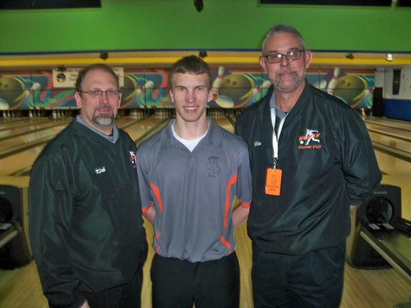 Jim Pifer of the Warsaw bowling team will compete at State Saturday. Pifer is shown above with coaches Kirk Wyman and Glen Ransbottom (Photo provided by Jenny Ransbottom)