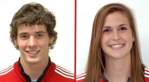 Grace College track athletes Nathan Brown (left) and Jo Boren were honored by the Crossroads League.