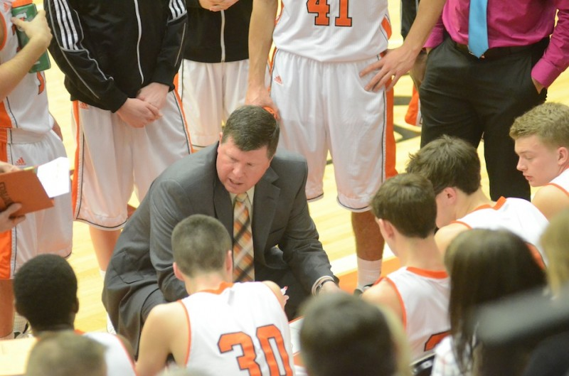 Coach Doug Ogle has some words of wisdom for his Warsaw squad during a timeout Thursday night.