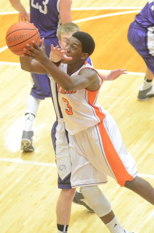 Warsaw's Paul Marandet slices in for two points Tuesday night. Marandet had nine key points in a 52-47 win over Elkhart Christian.