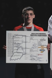 Warsaw freshman Kyle Hatch placed eighth at the IHSAA Wrestling State Finals held in Indianapolis (Photos provided by Scott Gareiss)