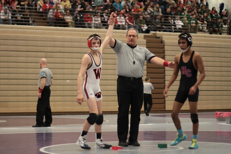 Warsaw freshman Kyle Hatch is recognized after winning his first-round match Saturday at the Merrillville Semistate. The 106-pounder went on to place fourth to earn a spot at the State Finals (Photos provided by Scott Gareiss)