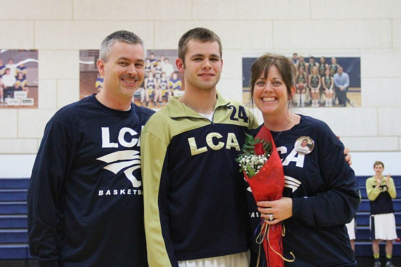 Chris Silveus was honored on Senior Night at Lakeland Christian Academy Tuesday (Photos provided by Scott Silveus)