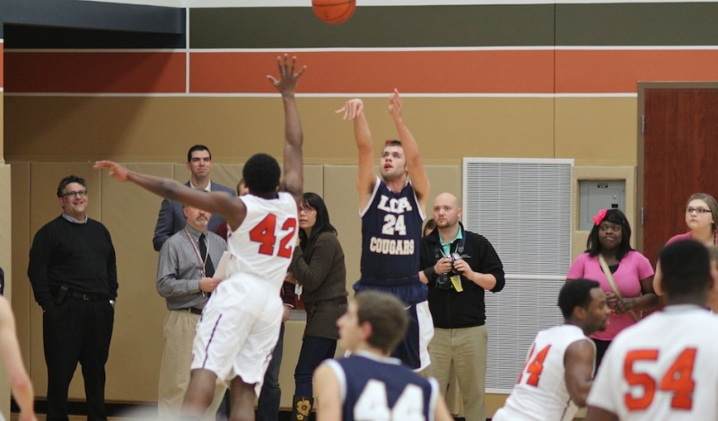 Chris Silveus lets fly with a jumper Friday night for LCA. Silveus scored 17 points in a win at South Bend Career Academy (Photo provided by Scott Silveus)