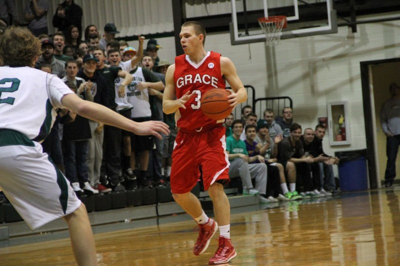 Logan Irwin, a former standout at Whitko High School, scored 15 points Wednesday night to help Grace upset host Huntington 56-54 in the Crossroads League Tournament (Photos provided by Grace College Sports Information Department)