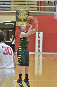 Jeffrey Moore drains a three in the second quarter of Thursday's contest.