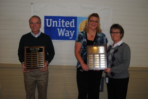 United Way of Kosciusko County's annual celebration was held in Warsaw Feb. 13. Last year, the agency raised $1.9 million. Awards were also handed out to three volunteers. Pictured, from left, are Volunteer of the Year Denny Cripe, and Key Leaders of the Year Jamie Gift and Tabitha Cooper of Paragon Medical.