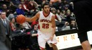 Niko Read handles the ball for Grace College Tuesday night during a 75-65 home loss to Mt. Vernon Nazarene (Photo provided by Grace College Sports Information Department)