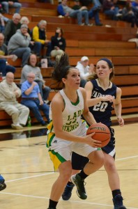 Caylie Teel goes up for two. Teel scored 12 points for the Lady Vikings.