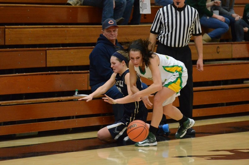 Caylie Teel forces a loose ball and makes sure she is the only one that will retrieve it.