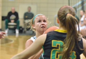 Kylee Rostochak goes up for two for Wawasee. Rostochak led Wawasee with six rebounds. (Photo by Nick Goralczyk)