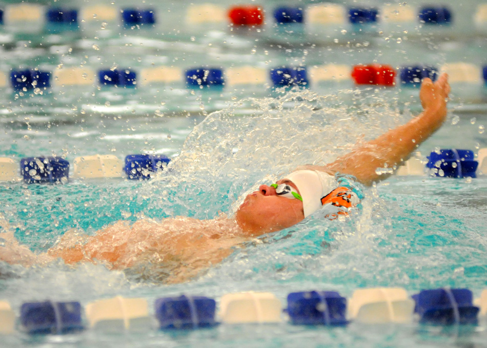 Warsaw junior Jayden Parrett will look to qualify for a podium swim in the backstroke this weekend at the IHSAA Boys Swimming State Finals. (Photos by Mike Deak)