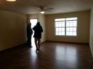 Hardwood floors and large, open floor plans are seen in both Tippe Downs' duplexes and rental homes. (Photo by Alyssa Richardson)