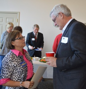 Sate Rep Rebeca Kubacki talks with primary Democratic candidate for U.S. Rep. District 3, Jim Redmond at the Syracuse-Wawasee Chamber of Commerce Meet the Candidates Night. (Photo by Deb Patterson)