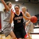 Grace College's Allison Kauffman drives to the bucket against Oklahoma Christian Thursday morning in the Women's NCCAA Tournament basketball game. (Photo provided by the Grace College Sports Information Department)