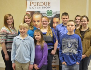 A few of the county's successful 4-H'ers were recognized at the county Extension Annual Meeting Monday. In front are Garrett Rodgers, Leina Helfers and Kevin Hesser. In back are Hannah Tucker Katrielle Rodgers, Madelyn Zimmerman, Scott Hesser, Lindsey O'Hara and Lacey Helfers. (Photo by Deb Patterson)