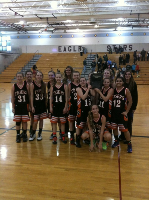 The Edgewood Middle School 8th grade girls basketball team won its conference championship Saturday (Photo provided by Troy Fancil)