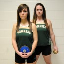 The Wawasee tandem of Savannah Schwartz and Katlyn Kennedy are part of a very strong throwing corps for the Lady Warrior track program. (Photo by Mike Deak)