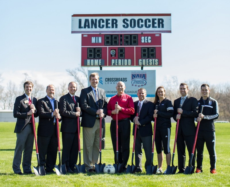 Grace College officials gathered Friday for a groundbreaking ceremony at Miller Field. The Grace soccer field will undergo a .... (Photo provided by Grace College Sports Information Department)