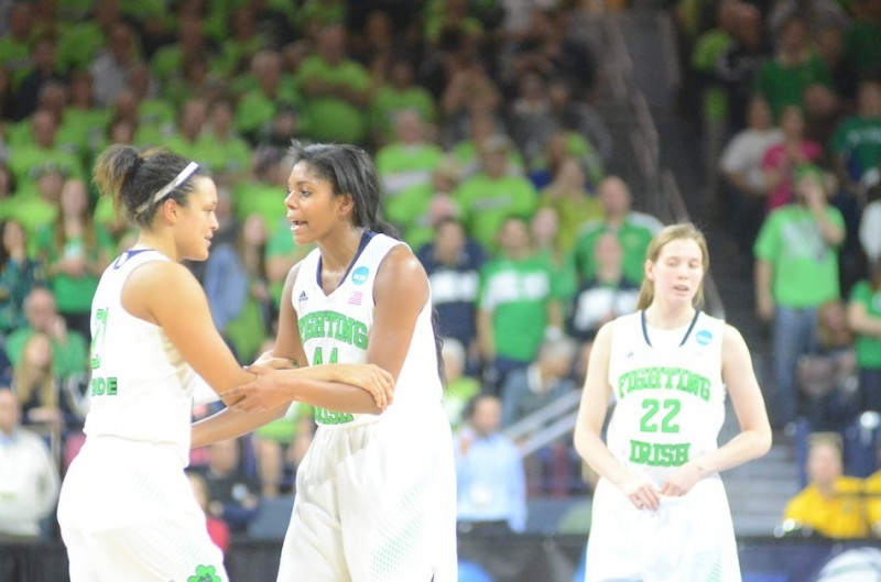 Notre Dame seniors Kayla McBride (at left) and Ariel Braker will be key for the undefeated Irish in the Final Four.