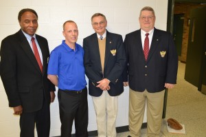 From left are Bill Cook, vice president of veterans affairs for Air Force Association Chapter 411, Ryan Edgar, math teacher at Wawasee Middle School, Dr. Chuck Hassel, president of AFA Chapter 411 and John Peyton, vice president of aerospace education for AFA Chapter 411. AFA Chapter 411 honored Edgar as its State Teacher of the Year.