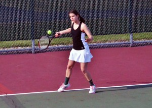 Chelsea Carolus played fantastic as the No. 1 singles player for the Lady Warrior JV team, winning 6-1, 6-1 over Liz Erickson.