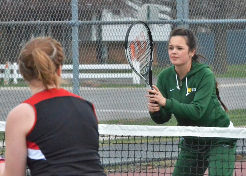 Wawasee's Jazlyn Gehlhausen gets ready before a serve in her match on the No. 2 doubles court.