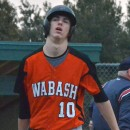 Roger Davis shows his disgust after striking out to end an inning of offense for the Apaches.