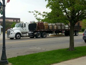 This semi lost part of its load in downtown Warsaw at Center and Detroit streets. (Photo by Alyssa Richardson)