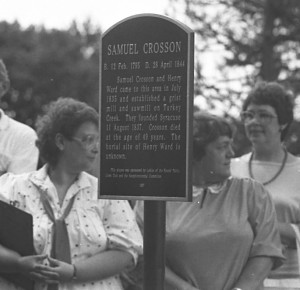 Shown is a photo taken in July 1987 when a marker was placed next to the grave site of Samuel Crosson during Syracuse's sesquicentennial celebration. This bronze marker was removed from its post prior to mid-April. (File photo)