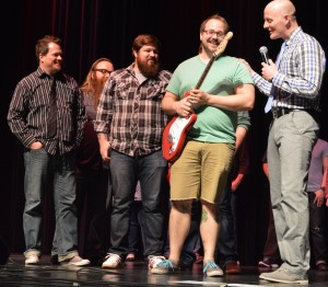 Plaxton & the Void was named Judges Choice winners and received a new electric guitar. Band members are shown with Matt Niemier, master of ceremony. (Photo by Deb Patterson)