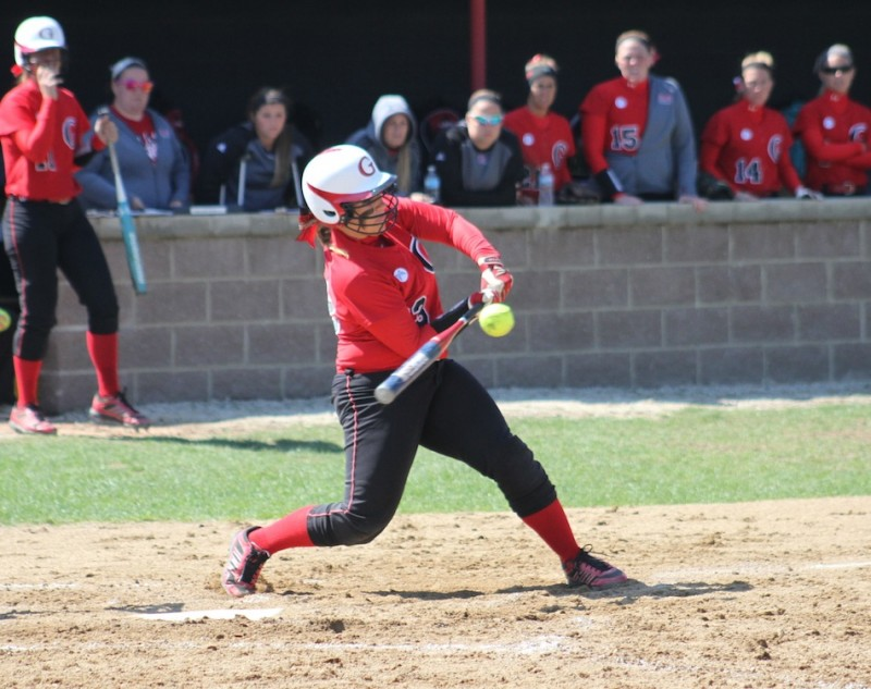 Senior Olivia Winget takes a rip for Grace. The Lancers play in the NCCAA World Series starting Thursday in Virginia (File photos provided by the Grace College Sports Information Department)