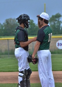 Gage Fannin (right) gets some words of encouragement from his catcher, Nik Anderson.
