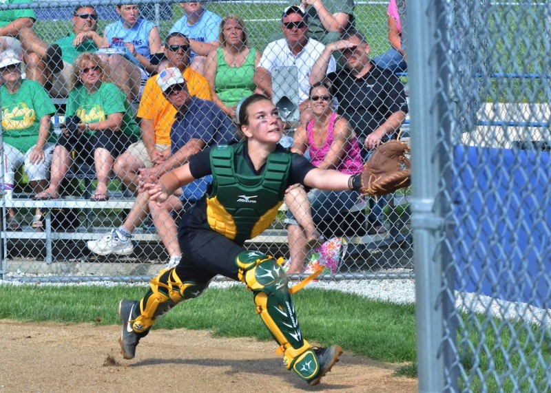 Wawasee's Paige Hlutke dives forward for a foul ball in the second inning of Tuesday's 6-0 win over Tippecanoe Valley. (Photos by Nick Goralczyk)