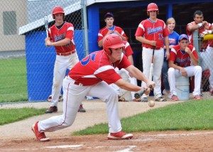 Sean Bush lays down a nice bunt for West Noble.