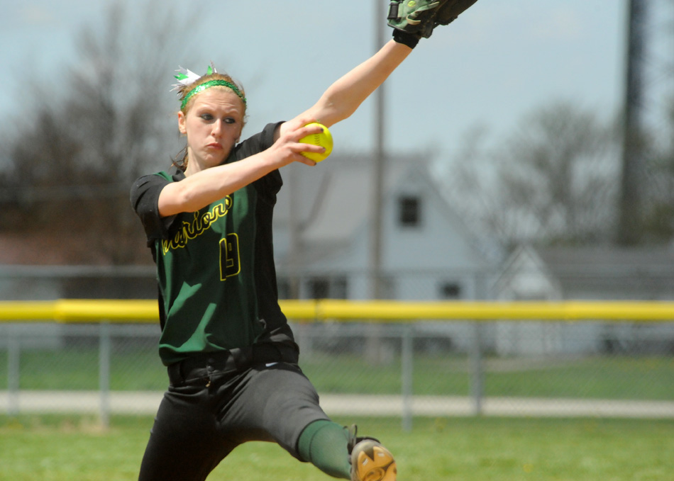 Wawasee ace Amber Lemberg threw a three-hitter Saturday in a 10-0 Wawasee victory over Westview. Wawasee also beat East Noble 9-2 in the first game of the doubleheader. (Photos by Mike Deak)
