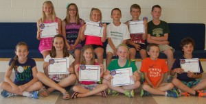 Fourteen students at North Webster Elementary School were recognized with Presidential Physical Fitness Achievement awards for performing well during various physical fitness challenges. In the front row, from left, are Bronwyn Bonner, fifth-grade; Cameron Kryder, fourth-grade; Rylee Firestone, third-grade; Talia Kuhl, fourth-grade; Grant Likens, second-grade; and Landen Alexander, third-. In the second row are Rileigh Atwood, fifth-grade; Emma Ebright, fifth-grade; Kassidy Bestul, fifth-grade; Jace Alexander, fifth-grade; Daegan Kingrey, fifth-grade; and Dominic Blair, fourth-grade.