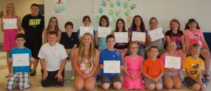 Awards are given to students across the nation who are graduating from elementary, middle or high school and who meet high thresholds of academic achievement. At North Webster Elementary School, the 2014 Presidential Academic Award winners were, in the front row, from left: Blake Wagner, Jose Espinoza, Delaney Hare, Clayton Firestone, Morgan Heche, Nathan Smith, Alexandra Haberman and Bode Grimes. In the second row are Rileigh Atwood, Riley Menzie, Emma Ebright, Noah Beckner, Tess Helfers, Kendal Coy, Mackenna Tharp, Vivian Wiggs, Cassidy Elder, Vanessa Wright and Norah Miller.